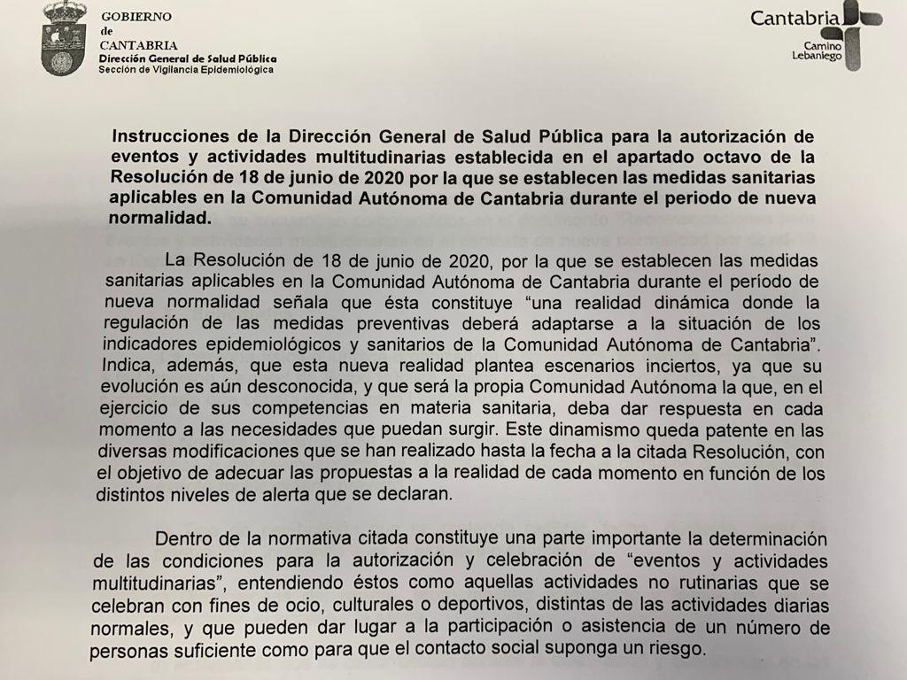 nota informativa de la Dirección General de Salud Pública